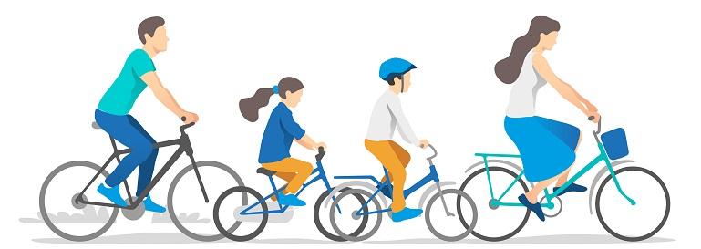 Rodzina na rowerze