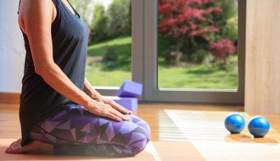 Woman in a yoga class
