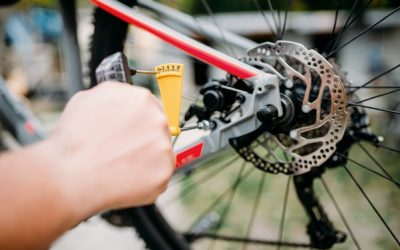 Bicycle mechanic hands with service tools