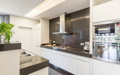 Kitchen with stylish amenities